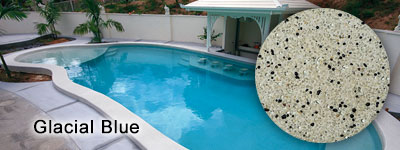 Glacial Blue Glass Pebble interior pool finish