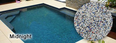 Swimming pool interior finishes blue glass pebble finishes bluewater pools cairns custom for Pebble finishes for swimming pools